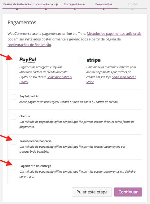 WooCommerce Plugin - Pagamentos no Assistente de Configuracao