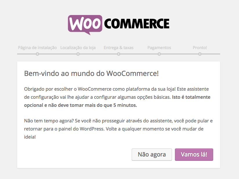 WooCommerce Plugin - Pagina de Boas Vindas do Assistente de Configuracao