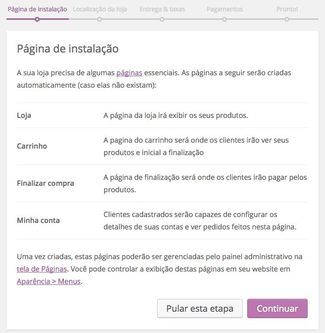 WooCommerce Plugin - Pagina de Instalacao no Assistente de Configuracao