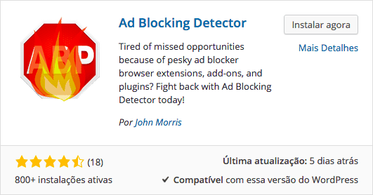 AdBlock no WordPress - Plugin Ad Blocking Detector