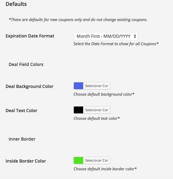 Site de Cupom WordPress - Configurações Cupon Creator 1