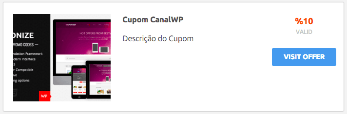 Site de Cupom WordPress - Cupom com Couponize