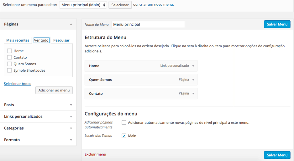 Trocamos de Tema no WordPress - Menus