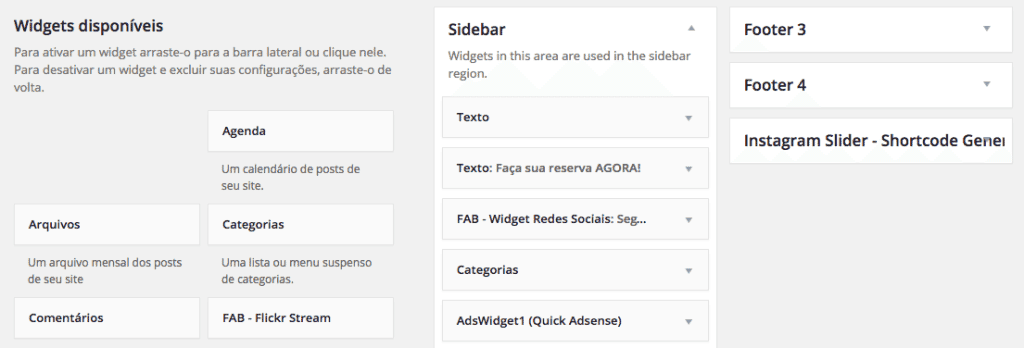 Trocamos de Tema no WordPress - Widgets