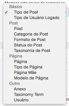 WordPress Advanced Custom Fields - Condição para Exibição de Grupo de Campos