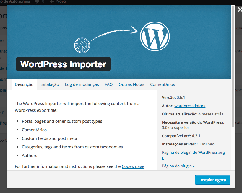 Importar e Exportar Posts Personalizados no WordPress - WordPress Importer