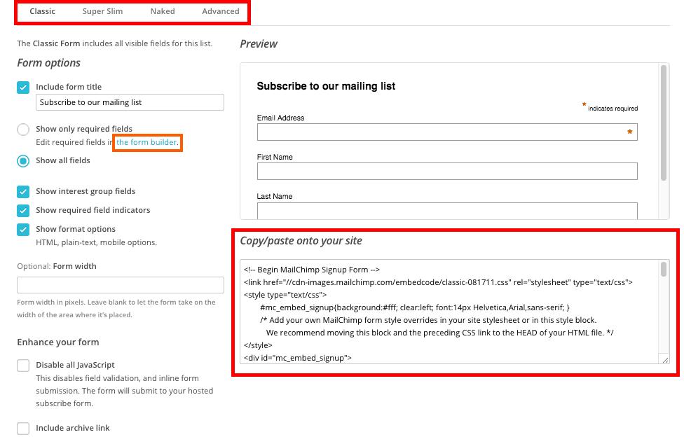 MailChimp no WordPress - Configuração de Formulário