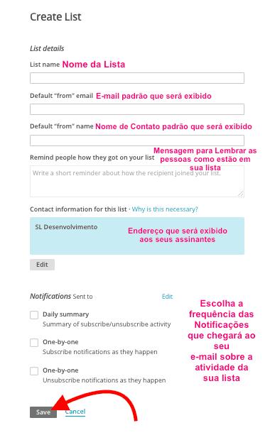 MailChimp no WordPress - Criar Lista