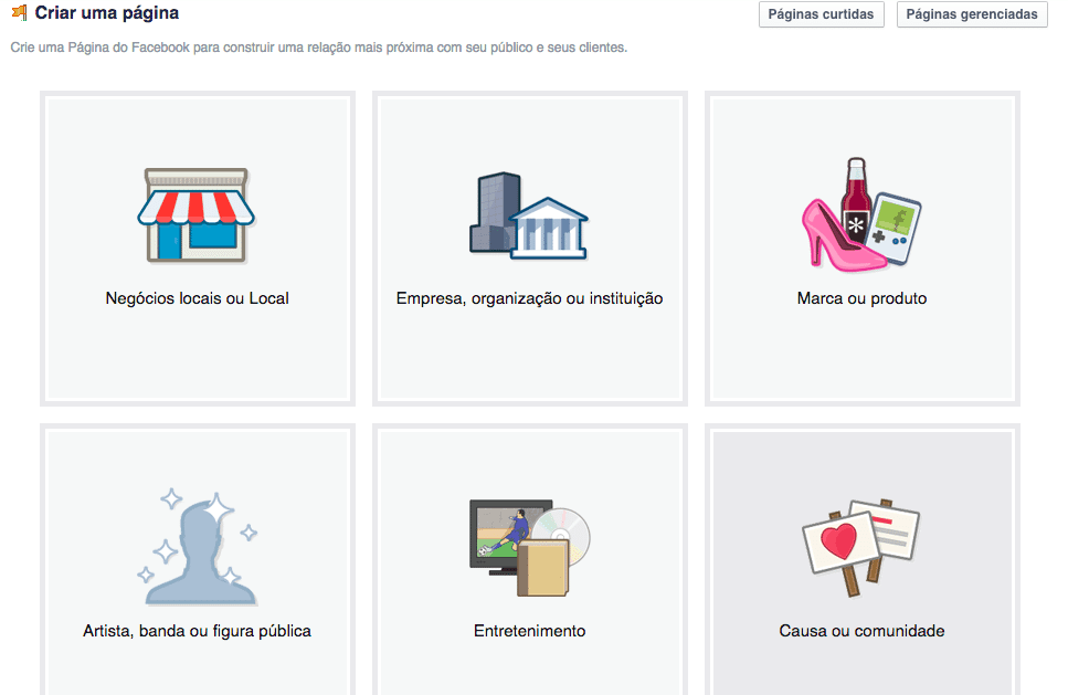 Plugin de Páginas do Facebook - Criar Página