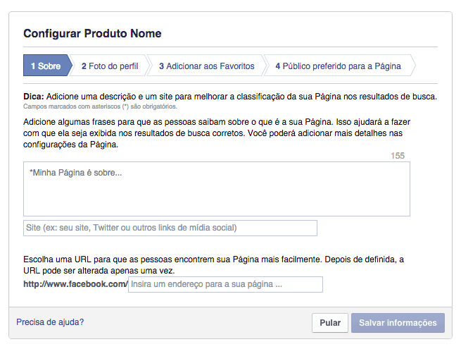 Plugin de Páginas do Facebook - Passos na Criação de Página