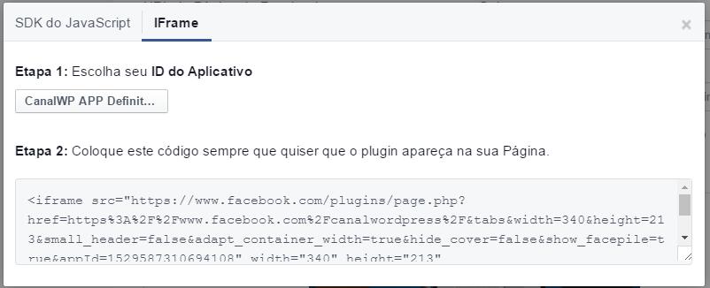 Plugin Pagina Facebook - IFRAME