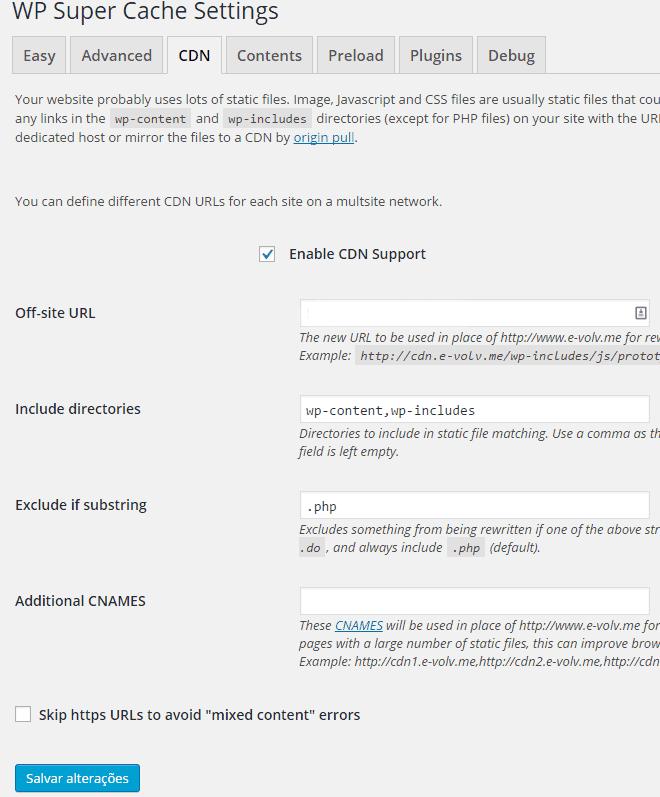 WP Super Cache - CDN Configuração2