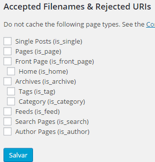 WP Super Cache - Filenames e Rejecteds