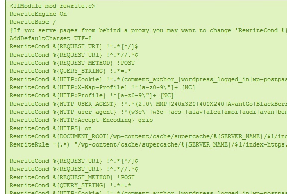 WP Super Cache - Mod Rewrite Rules Ativado