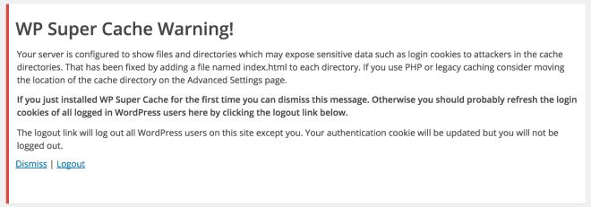 WP Super Cache - Notificação de Cache de Dados de Login