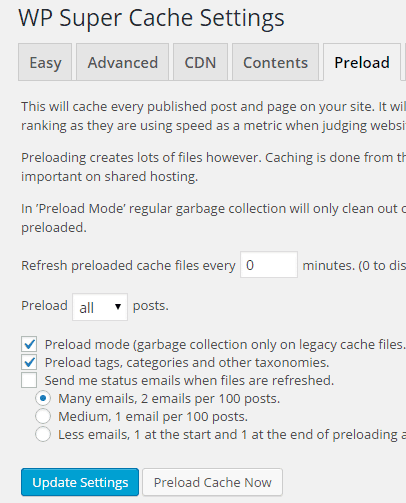 WP Super Cache - Preload