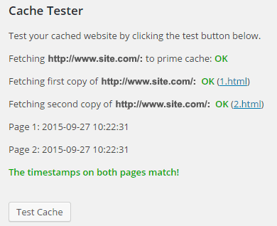 WP Super Cache - Teste Caches