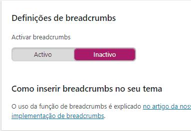 Yoast SEO - Breadcrumbs Desativados