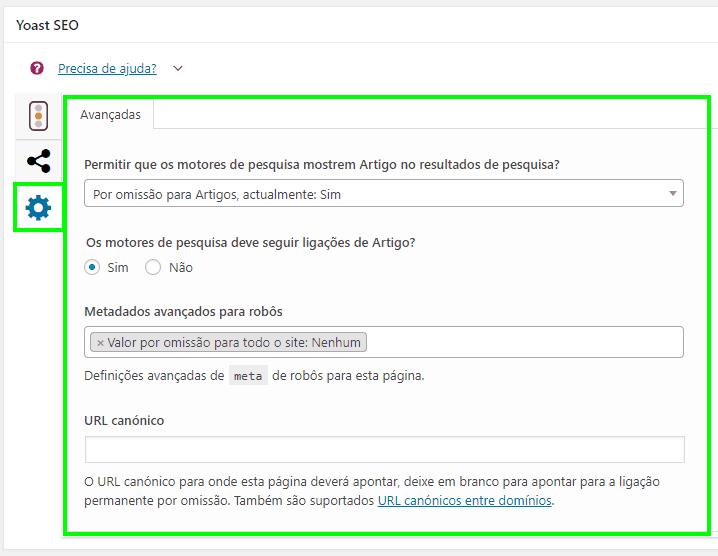 Yoast SEO - Configuracoes Avancadas Edicao de Posts e Paginas