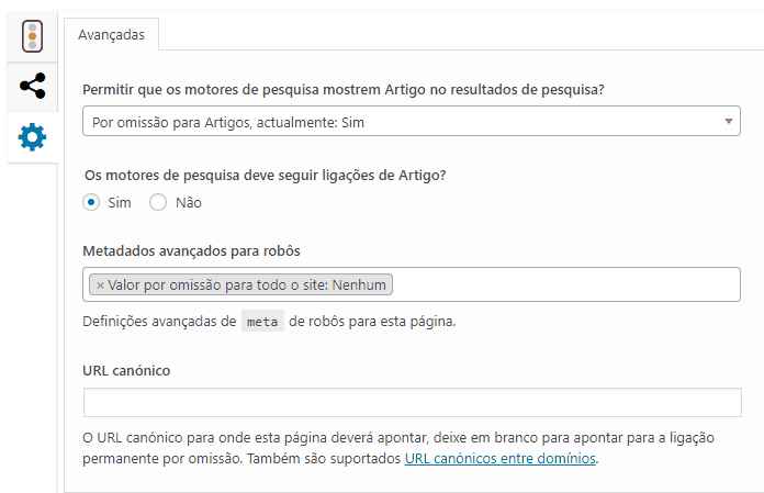 Yoast SEO - Opcoes Avancadas