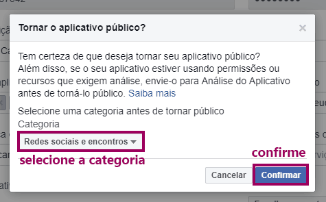Yoast SEO - Redes Sociais - Facebook Developers Tornando Aplicativo Publico