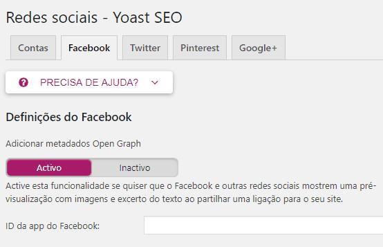 Yoast SEO - Redes Sociais - Facebook