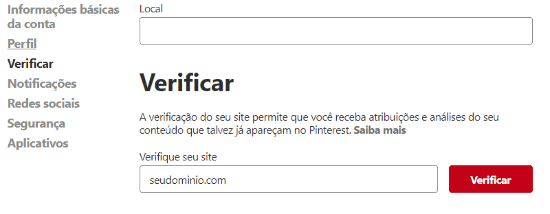 Yoast SEO - Redes Sociais - Pinterest Verificar