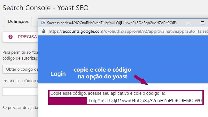 Yoast SEO - Search Console - Codigo Autenticacao