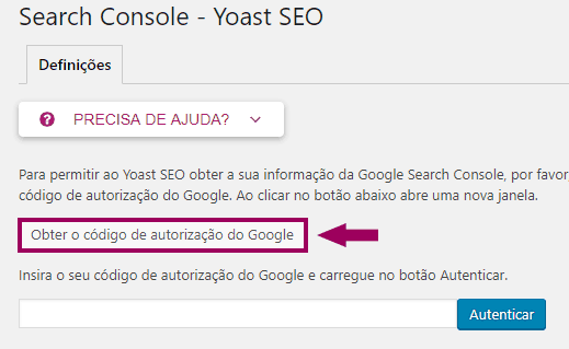 Yoast SEO - Search Console - Inicio
