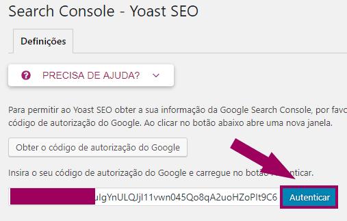 Yoast SEO - Search Console - Inserido Codigo