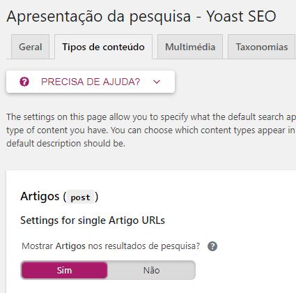 Yoast SEO - Sitemap XML - Opcao Tipo de Conteudo2