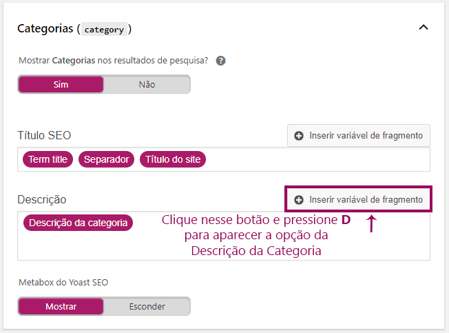 Yoast SEO - Taxonomia - Categoria