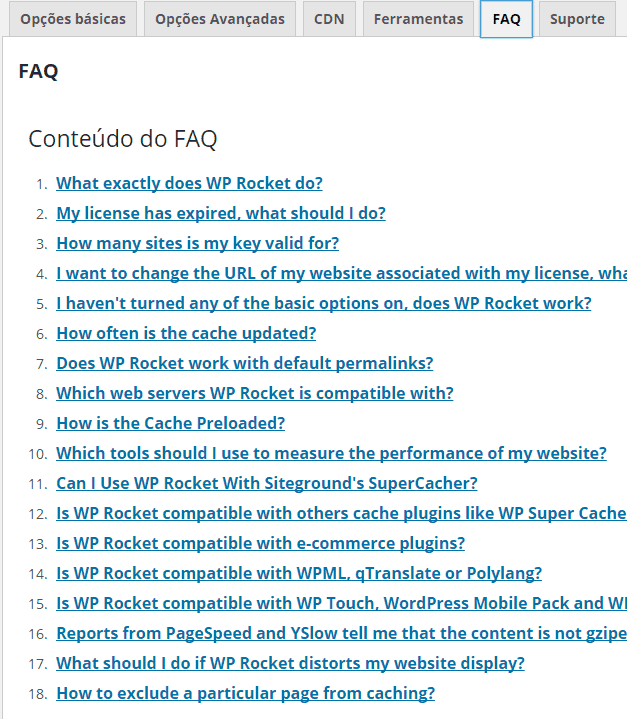 WP ROCKET FAQ
