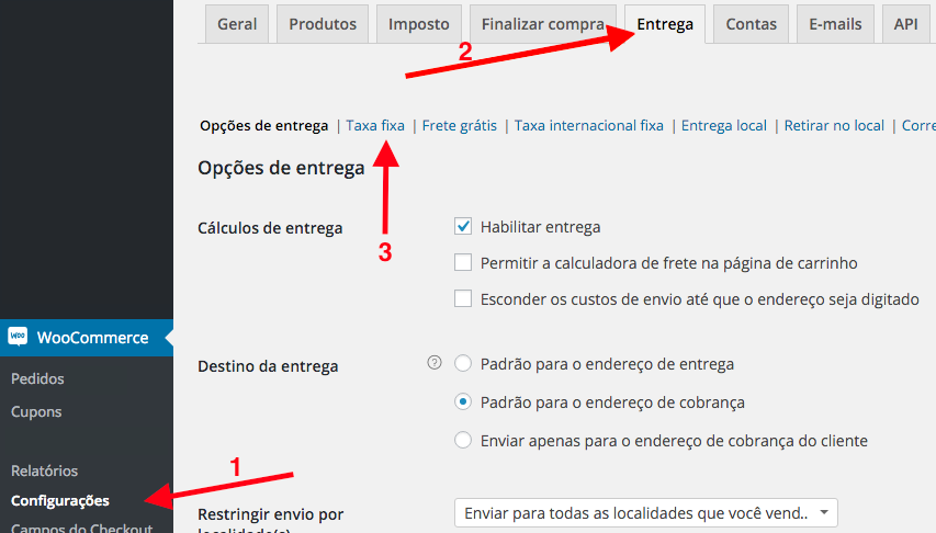 Classes de Entrega WooCommerce - Criando Taxa Fixa