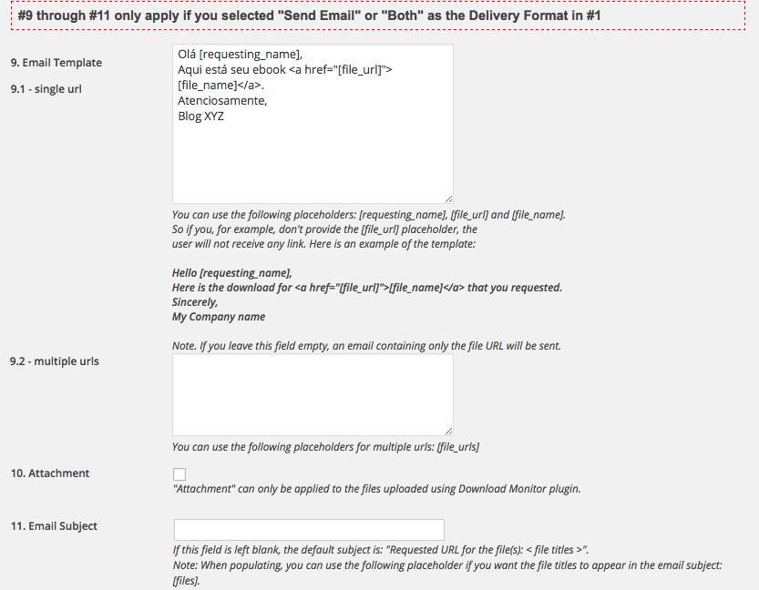 Como Capturar Email Atraves de Download no WordPress - Configuracoes Email Before Download 3
