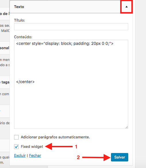 Como Fixar (Sticky) Widgets com o Plugin Q2W3 no WordPress - Fixando um Widget