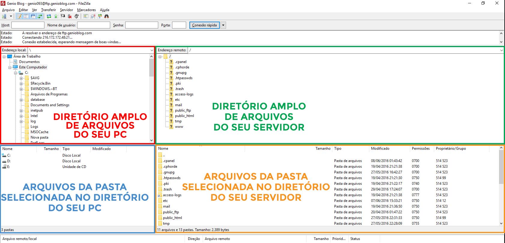 FileZilla - Entendendo as telas e divisoes2