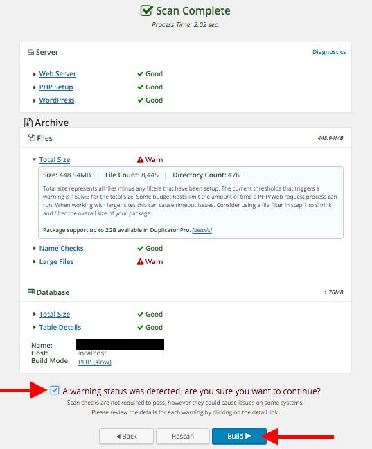 Migrar Site WordPress com Duplicator - Escaneamento de Arquivos completo