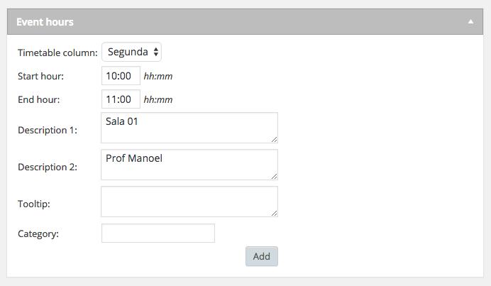 Calendario de Eventos e Horarios no WordPress - Adicionando Aula ou Evento Timetable Responsive Schedule Passo 3
