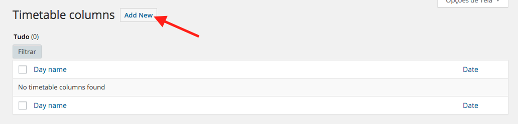 Calendario de Eventos e Horarios no WordPress - Adicionar nova coluna dia da semana no Timetable Responsive Schedule