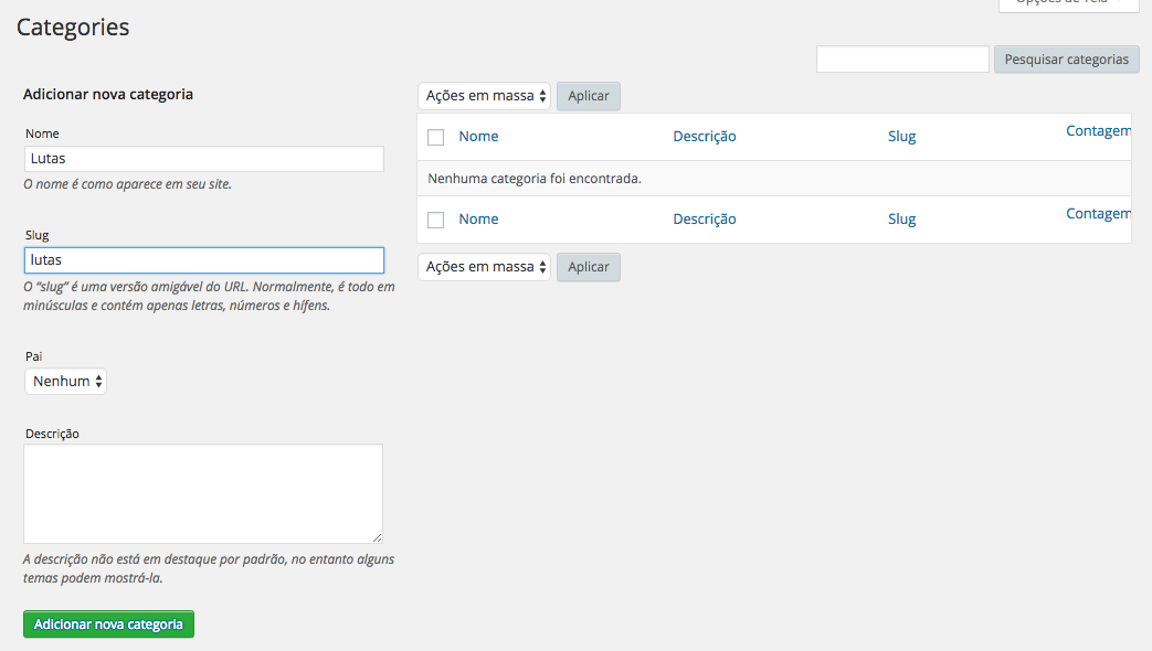 Calendario de Eventos e Horarios no WordPress - Cadastro de Categorias para Eventos ou Aulas no Timetable Responsive Schedule