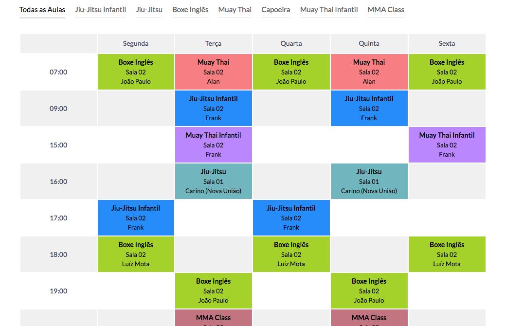Calendario de Eventos e Horarios no WordPress - Calendario exemplo 2 Timetable Responsive Schedule