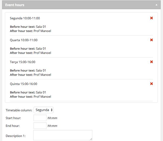 Calendario de Eventos e Horarios no WordPress - Horarios cadastrados para Aula ou Evento Timetable Responsive Schedule