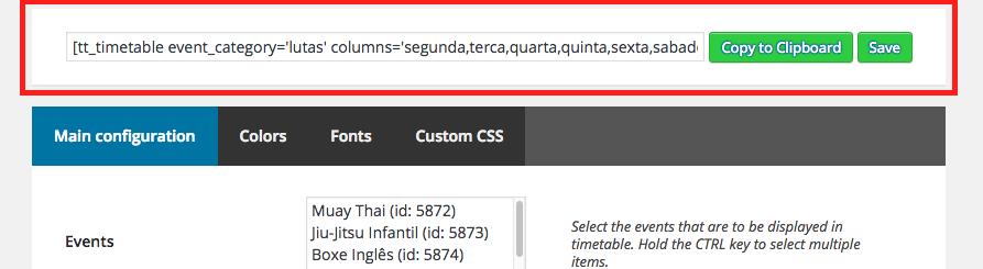 Calendario de Eventos e Horarios no WordPress - Shortcode Timetable Responsive Schedule
