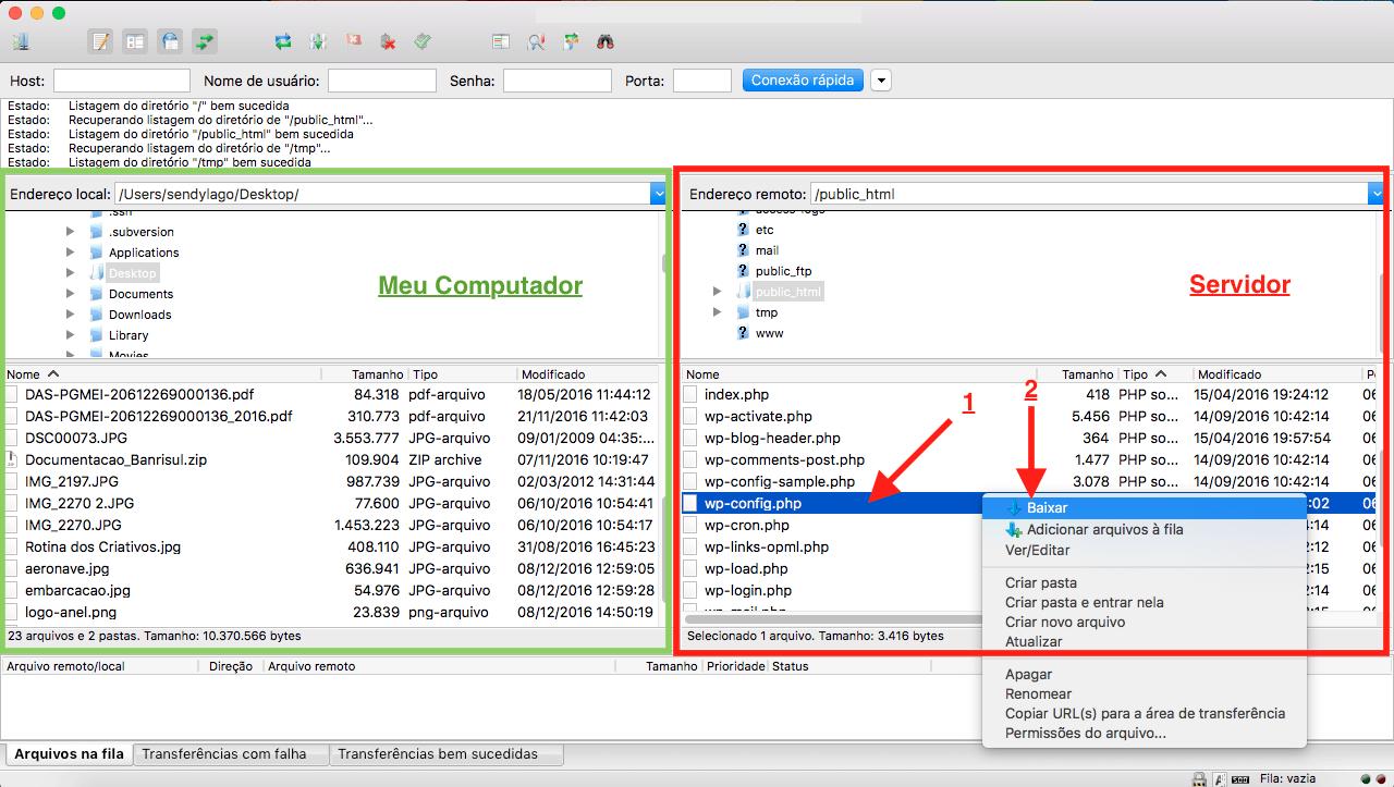 Como Editar o arquivo wp config.php no WordPress wp config na Lista de Arquivos