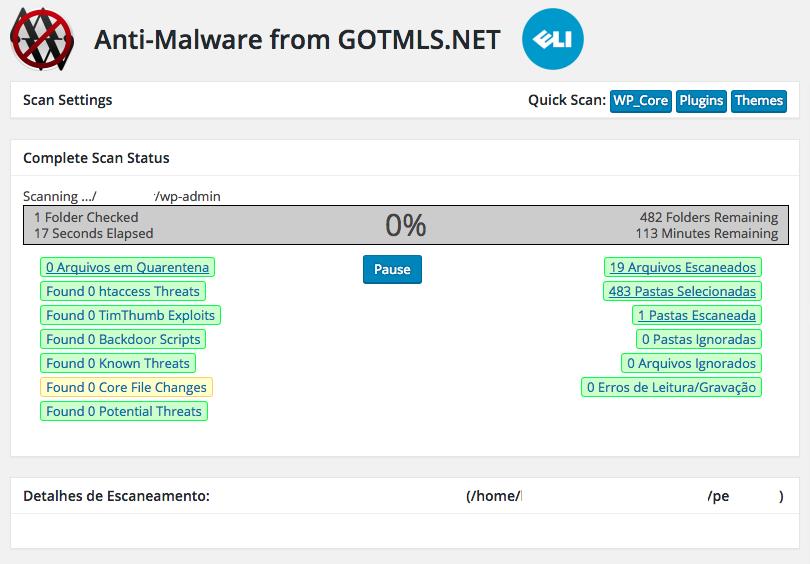 Como Resolver Phishing no WordPress - Acompanhando Escaneamento do Anti-Malware Security and Brute-Force Firewall