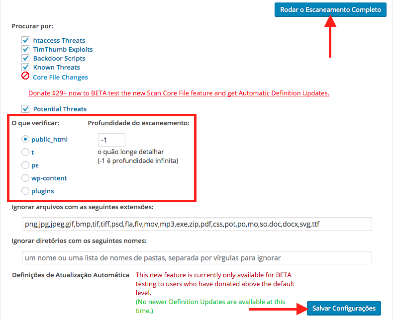 Como Resolver Phishing no WordPress - Configurando e Rodando Escaneamento