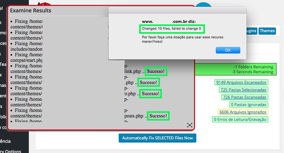 Como Resolver Phishing no WordPress - Limpeza automatica de codigos malware finalizada