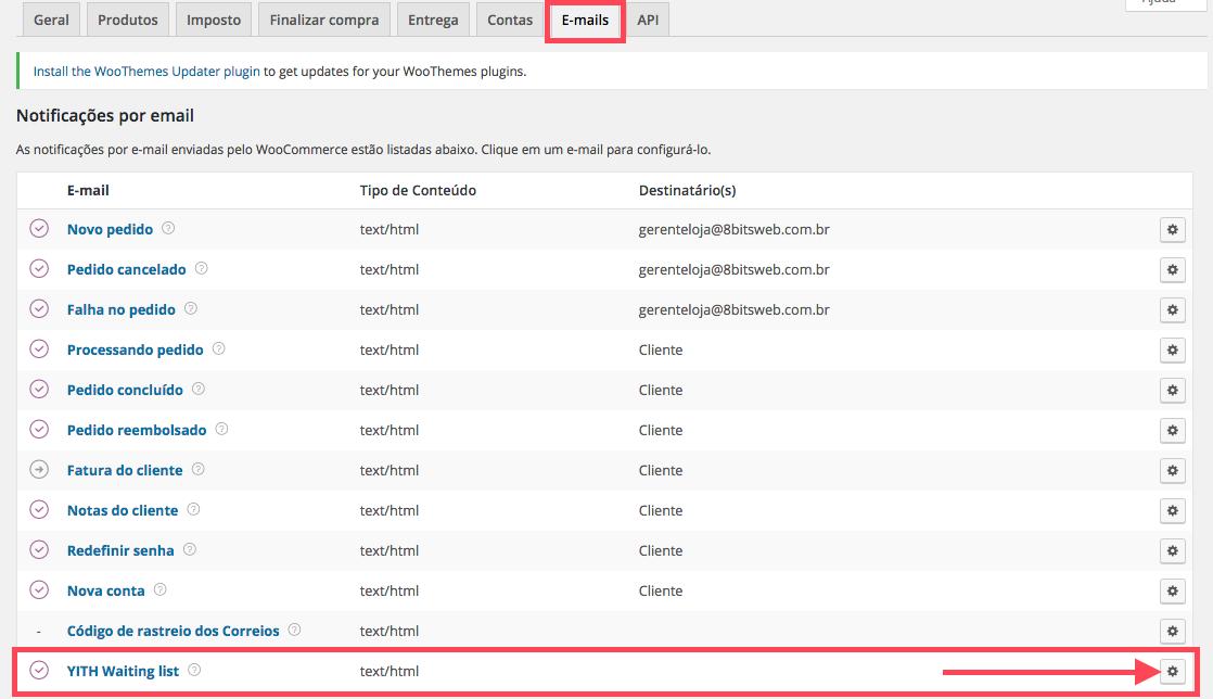 Clientes na Lista de Espera WooCommerce - Configuracao de Email