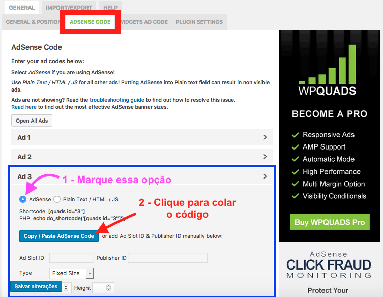 Como Adicionar e Configurar Google Adsense no WordPress - Adicionando o bloco de codigo Adsense